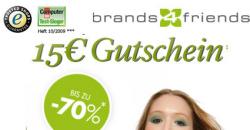 15 € brands4friends.de Gutschein mit 40 € MBW für Neu- und Bestandskunden gültig bis 11.12.2014