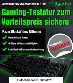 20€ Gutschein für Razer BlackWidow Ultimate 2014 Tastatur gesponsert von Alternate und Computerbild