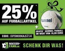 25% Zusatzrabatt auf alle Fußball-Artikel + 5€ sportingbet Gutschein + Hummels Fußball ab 129€ Rechnungsbetrag