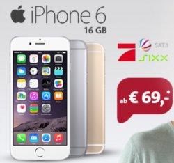 Apple iPhone 6 (1×69,-€) Vertrag 39,-€ monatlich 1,5GB LTE Internet, SMS und Telefonflat