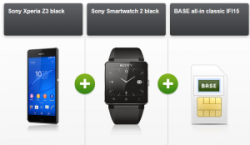 BASE all-in classic Allnet-Flat mit Sony Xperia Z3 & Sony Smartwatch 2 für 35 € ( 33 € ADAC Rabatt ) @ Modeo