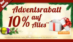Bei plus.de gibt es heute 10 % Adventsrabatt auf alles