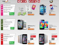 BIG SALE: z.b. Base Pur (50 MB, 50Freim., 50 Frei SMS) + iPhone 4S oder Samsung Galaxy S5 Mini für 7,50€ mtl. @ Logitel