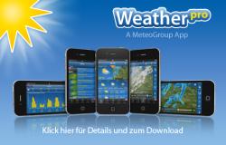 Die Wetter-App WeatherPro wurde auf 99 Cent statt 2,99 € für iOS und Android reduziert.