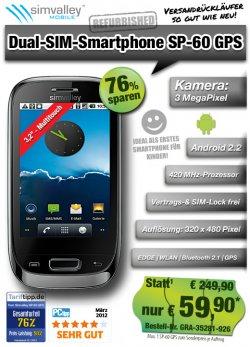 Dual SIM Smartphone SP 60 GPS für 59,90 € ( UVP 249,90 € ) @ pearl