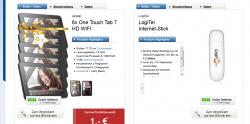 E-Plus Mein BASE Internet 11 + 6x Alcatel One Touch Tab 7 HD Wifi  für 11€ mtl. bei 24 Monate Vertragslaufzeit @Logitel