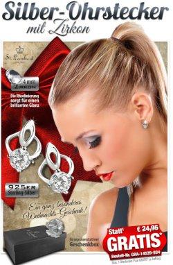 Gratis statt 24,95€: 1 Paar 925er Silber Ohrstecker mit Zirkon