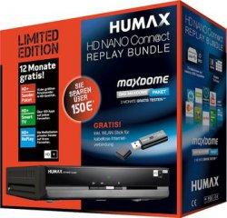 Humax HD Sat-Receiver (DVB-S/S2) inkl. WLAN-Stick und HD+ für 1 Jahr + maxdome-Paket (im Wert von 15,98 €) für 99,90 € (114,99 € Idealo) @Notebooksbilliger