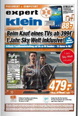 [LOKAL] 1 Jahr Sky Welt inklusive bei Kauf eines TV Geräts ab 399€ @Expert Klein