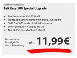 modeo WeekendDeal: Talk Easy Flat mit Surf Flat 2,25GB im Monat! + 100 Freiminuten für rechner. 11,99€ mtl. @modeo.de