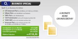o2 Business Aktion XL Allnet-Flat + LTE Internet-Flat + SMS-Flat + 120 Freiminuten mtl. EU und USA + 1000 SMS mtl. EU und USA + Internet Flat EU und USA für 11,11 € mtl. statt 51,11 € @Sparhandy