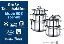 Tauschaktion bei Karstadt: Bis zu 50 € auf Töpfe und Pfannen von Silit und WMF, z.B. WMF Kochtopf-Set Diadem Plus (5-teilig) für 79,99 € (Idealo: 124,90 €)