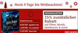 thalia.de: nach Nicolaus wieder neuer Gutschein 15% auf Filme, Musik, Hörbücher, Spielwaren, auch auf Reduziertes