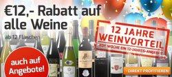 @weinvorteil: Rabattcode für 12 € Rabatt auf alle Weine, auch auf reduzierte Angebote (ab 12 Flaschen)