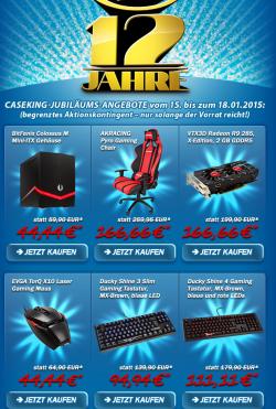 12 Jahre Caseking mit ausgewählten Angeboten z.B.VTX3D Radeon R9 285 X-Edition 2048MB GDDR5 für 166,66€  [idealo 201,90€]