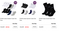15er Pack Puma Socken oder Sneaker für je 25,50€ [idealo 36,95€ u. 35,95€] @Mybodywear