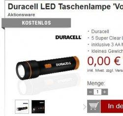 19% Mehrwertsteuer sparen auf fast alle Artikel + 4 Gratis-Artikel, z.B. kostenlose Duracell LED Taschenlampe @Druckerzubehoer.de