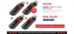 2 x SanDisk Cruzer Glide USB-Stick 16GB USB 2.0 kaufen + 2 Gratis dazu bekommen für 20,99€ inkl. Versand @Zoombits