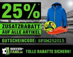 25% Zusatzrabatt auf alle Artikel (auch reduzierte) + 5€ sportingbet Gutschein @Soccer-Fans-Shop.de