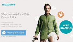3 Monate maxdome für 7,99€ oder einen Monat komplett kostenlos @Maxdome