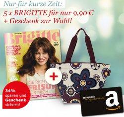 5 Ausgaben Brigitte nur 9,90€ statt 15,-€  +  10,-€ Amazon Gutschein geschenkt