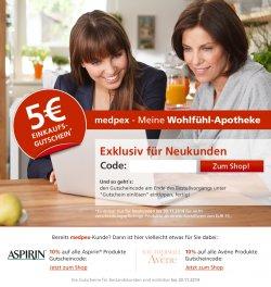 5 € medpex.de Gutschein für Neukunden mit 15 € Mindestbestellwert (ab 20 € versandkostenfrei)