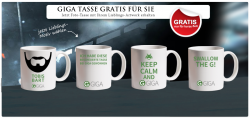 GIGA TASSE GRATIS nur Versandkosten von 4,99 € @Myprinting.com