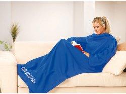 Gratis PEARL Fleece-Kuscheldecke mit Ärmeln, Farbe blau nur Versandkosten