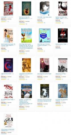 Heute 17 neue gratis eBooks. zB der Horrorschocker Blutwahn und Heiratsratgeber Las Vegas