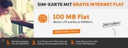 Kostenlose Internet-Flat (100 MB und LTE) + 5 € Startguthaben für einmalig 4,90 € @Simyo