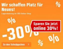 Lagerräumung im Obi-Onlineshop 30 % Gutschein