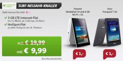 Neujahr-Knaller @Sparhandy z.B. Huawei MediaPad 10 Link 3G für 1 € (183,89 € Idealo) mit LTE-Internet-Flat für 9,99 € mtl. statt 19,99 € mtl. oder mit Internet-Flat 500 für 4,99 € mtl. statt 6,99 € mtl.