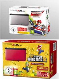 Nintendo 3DS XL Konsole –  New Super Mario Bros. 2 oder Mario Kart 7 (Limited Edt.) für je 162,80€ @Thalia.at