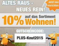Plus.de heute mit 10 % Gutschein auf Wohnartikel