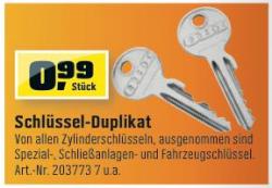 Schlüssel-Duplikat für 0,99€ @OBI & TOOM