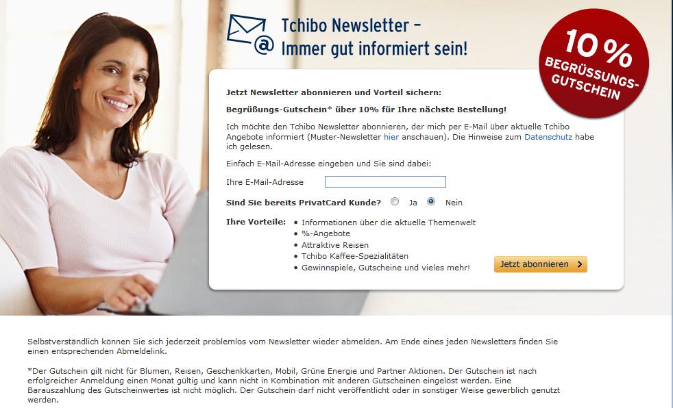 717d3bfde6a574 Tchibo Newsletter abonnieren & 10 % Gutschein bekommen ...