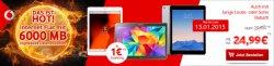 Vodafone – 6 GB LTE Internet Flat bis zu 225 Mbit/s + Samsung oder Apple Tablet z.B. Samsung Galaxy Tab S 10.5 LTE für 24,99€ mtl. @Handytick