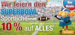 Zum Superbowl gibt es 10 Prozent Rabatt auf alles bei Plus.de