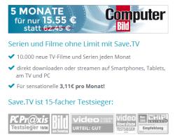 5 Monate Save.TV XL statt 62,45€ für nur 15,55€ ( entspricht je Monat 3,11€ ) @ComputerBILD