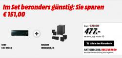 Sony STR-DN850 AV-Receiver + Magnat Interior 5.1X – Heimkinosystem mit Aktiv-Subwoofer für 477 €  [ Idealo 625 € ] @Mediamarkt