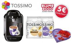 TASSIMO VIVY mit T DISCS Milka und Jacobs Café au lait, Milka Pralinés und Blume2000-Gutschein für 33 € inkl. Versand @ Groupon