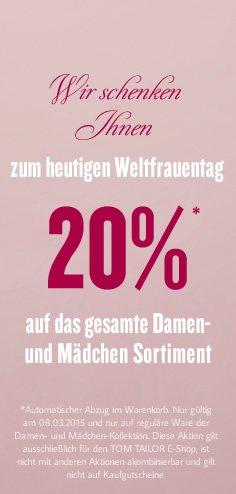 20% Rabatt bei TOM TAILOR zum Weltfrauentag