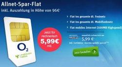 o2 Allnet Flat in alle dt. Netze + 500MB für effektiv nur 5,99€ mtl. @Modeo