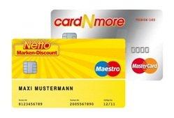 Dauerhaft kostenlose CardNMore Kreditkarte mit 30€ Startguthaben @ Netto