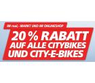 20% Rabbatt auf Citybikes bei real,- on- und offline (Damenfahrräder ab 139,65€ statt 179€ im Markt mit PAYBACK)