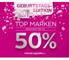 OTTO.de:  Zum 20 Jährigen Geburtstag 50 Prozent auf aktuelle Top-Marken + 2 Gutscheine