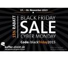 15 Prozent Rabatt Gutschein auf das ganze Sortiment zum Black Friday und Cyber Monday bei koffer-direkt
