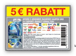 2,- € Rabatt auf Wilkinson Hydro 5 Klingen & 5,- € Rabatt auf Hydro 5 Groomer Rasierer @Wilkinson