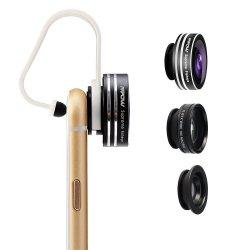 Amazon: Mpow 3 in 1 (Fisheye Supreme + 0.65X Weitwinkel + 10X Makro) Objektiv für Handys durch Gutschein für nur 9,99 Euro statt 12,49 Euro