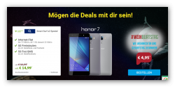 Sparhandy: o2 Smart Surf (1GB Datenflat, 50 Freiminuten + 50 Frei SMS) +  Huawei Honor 7 für 14,99€ mtl.